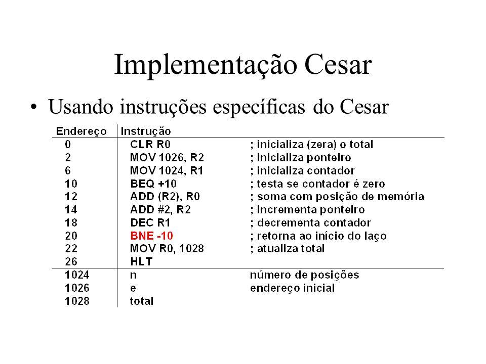 Implementação Cesar Usando instruções específicas do Cesar