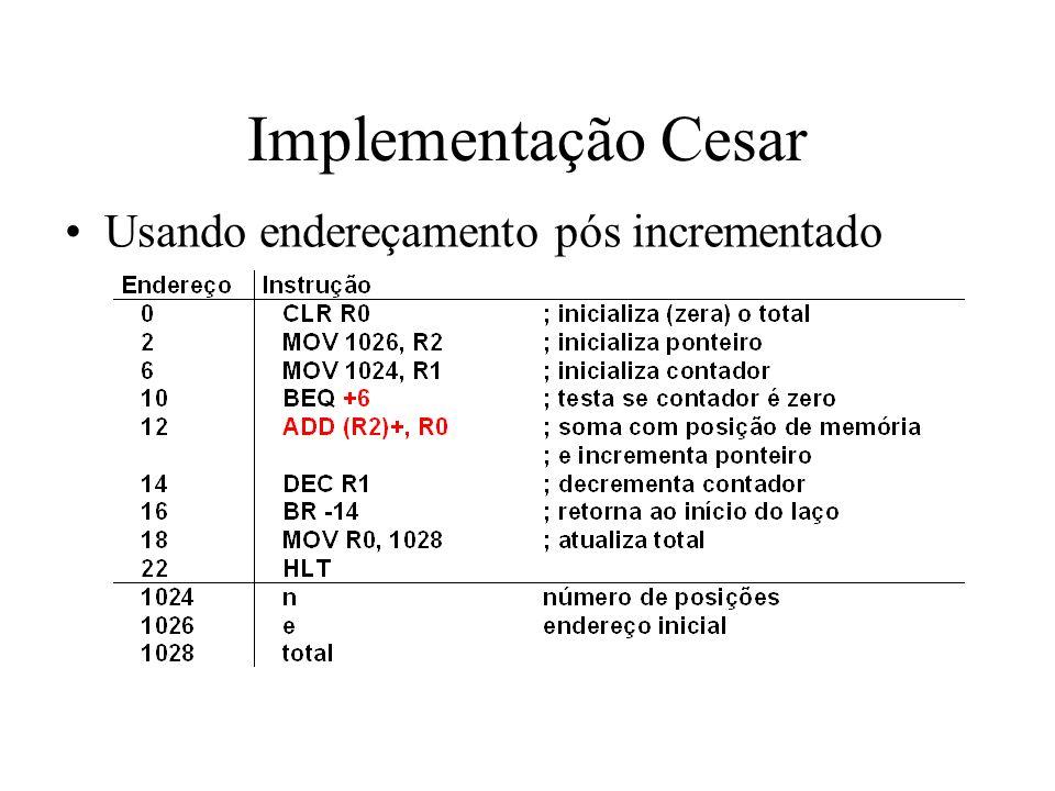 Implementação Cesar Usando endereçamento pós incrementado