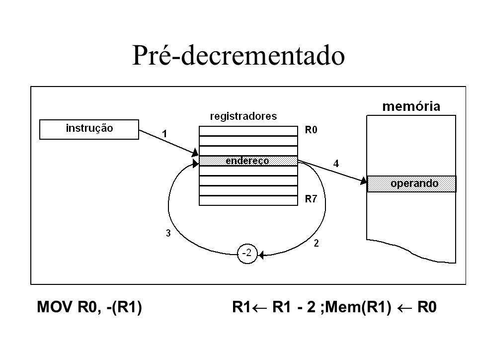 Pré-decrementado MOV R0, -(R1) R1 R1 - 2 ;Mem(R1) R0