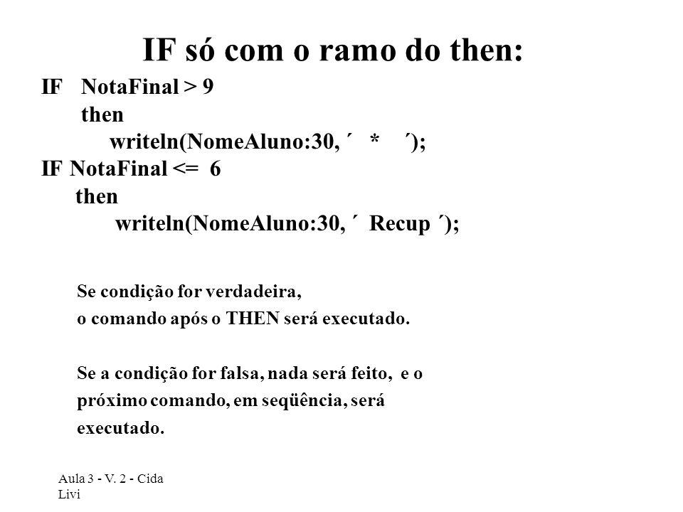 Aula 3 - V. 2 - Cida Livi IF só com o ramo do then: IF NotaFinal > 9 then writeln(NomeAluno:30, ´ * ´); IF NotaFinal <= 6 then writeln(NomeAluno:30, ´