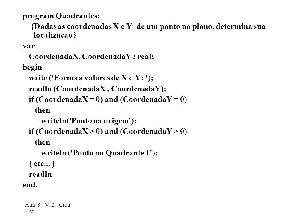 Aula 3 - V. 2 - Cida Livi program Quadrantes; {Dadas as coordenadas X e Y de um ponto no plano, determina sua localizacao } var CoordenadaX, Coordenad
