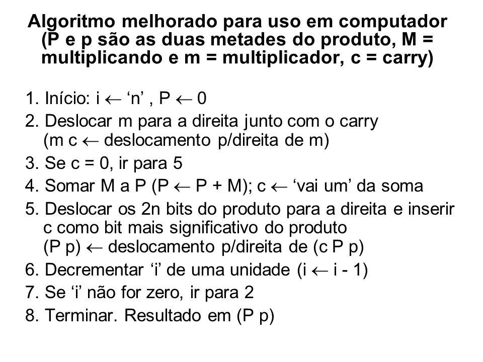 Algoritmo adaptado para uso em computador (P e p são as duas metades do produto, M = multiplicando e m = multiplicador, c = carry) 1. Início: i 0, P 0