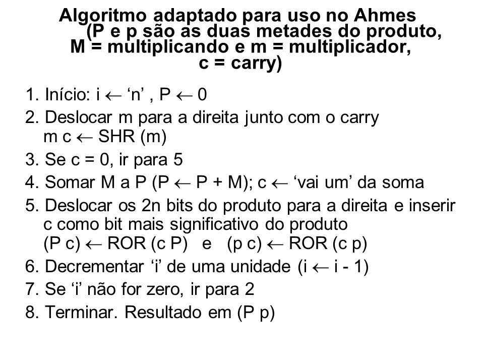 Algoritmo melhorado para uso em computador (P e p são as duas metades do produto, M = multiplicando e m = multiplicador, c = carry) 1. Início: i n, P