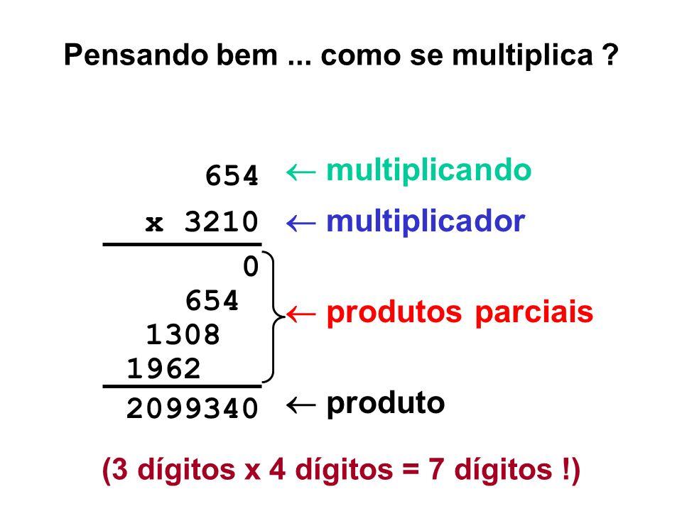 Multiplicação de números negativos (em complemento de 2) 111011100010 -01101000000 011010 x 110101 0000000 01101000 0011010 000000000 0110100000 00011010 010000010 0010000010 00000100010 +26 x -11 = -286 Depois de cada adição, o novo bit mais significativo será: (no Ahmes, a ocorrência de estouro liga o código de condição V...