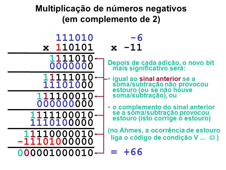 Multiplicação de números negativos (em complemento de 2) Inteiro positivo 10101 = 1.2 4 +0.2 3 +1.2 2 +0.2 1 +1.2 0 = 16 + 0 + 4 + 0 + 1 = 21 Compleme