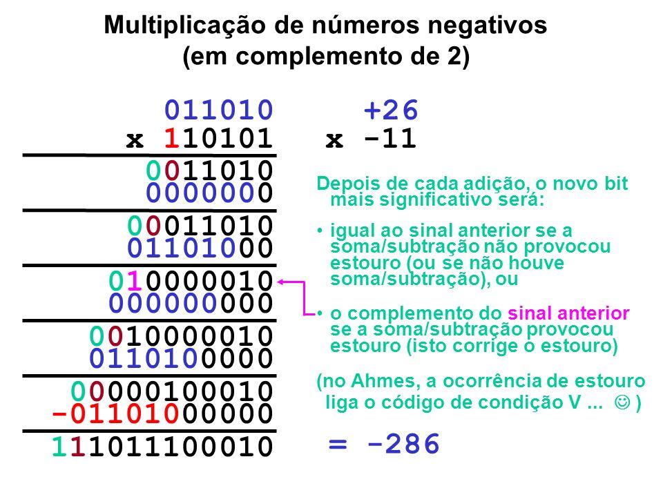 Multiplicação de números negativos (em complemento de 2) 000001000010 -11101000000 111010 x 110101 0000000 11101000 1111010 000000000 1110100000 11111