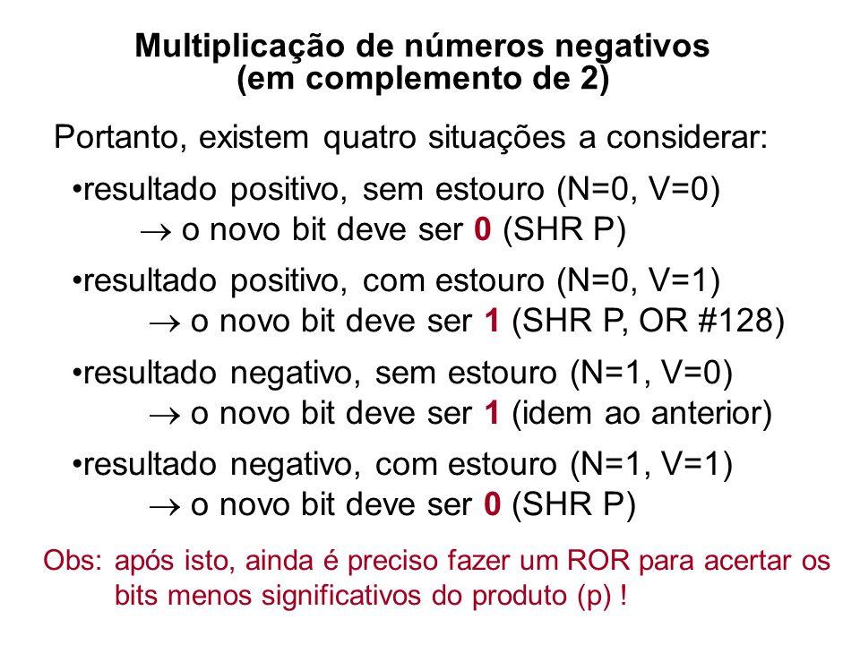 Multiplicação de números negativos (em complemento de 2) 111011100010 -01101000000 011010 x 110101 0000000 01101000 0011010 000000000 0110100000 00011