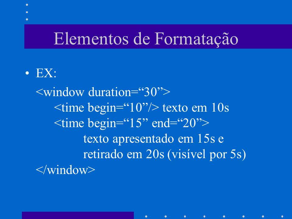 Elementos de Formatação EX: texto em 10s texto apresentado em 15s e retirado em 20s (visível por 5s)