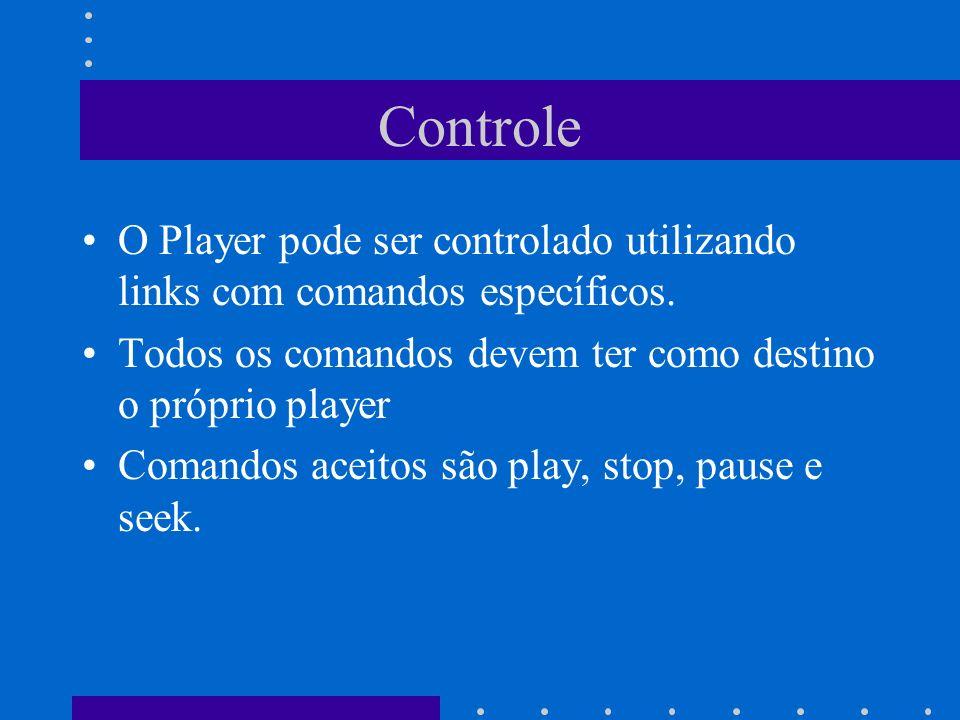 Controle O Player pode ser controlado utilizando links com comandos específicos. Todos os comandos devem ter como destino o próprio player Comandos ac