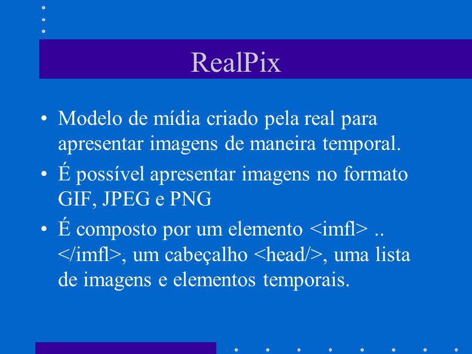 RealPix Modelo de mídia criado pela real para apresentar imagens de maneira temporal. É possível apresentar imagens no formato GIF, JPEG e PNG É compo