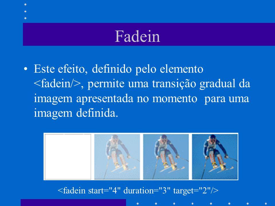 Fadein Este efeito, definido pelo elemento, permite uma transição gradual da imagem apresentada no momento para uma imagem definida.