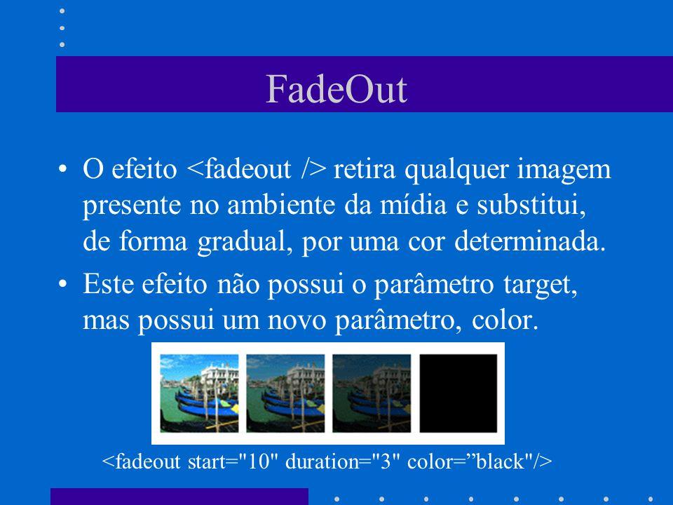 FadeOut O efeito retira qualquer imagem presente no ambiente da mídia e substitui, de forma gradual, por uma cor determinada. Este efeito não possui o