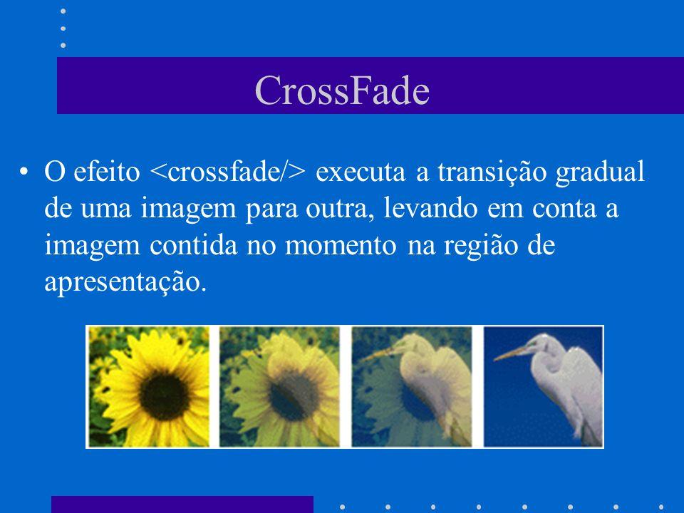 CrossFade O efeito executa a transição gradual de uma imagem para outra, levando em conta a imagem contida no momento na região de apresentação.