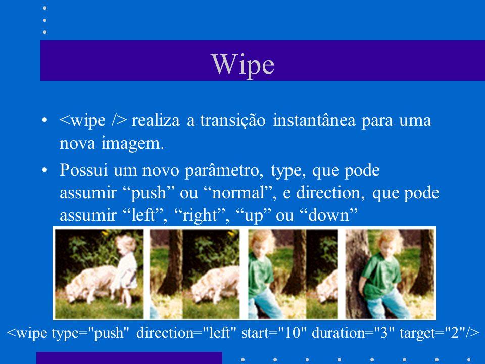 Wipe realiza a transição instantânea para uma nova imagem. Possui um novo parâmetro, type, que pode assumir push ou normal, e direction, que pode assu