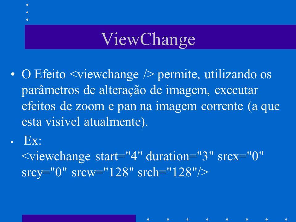 ViewChange O Efeito permite, utilizando os parâmetros de alteração de imagem, executar efeitos de zoom e pan na imagem corrente (a que esta visível at
