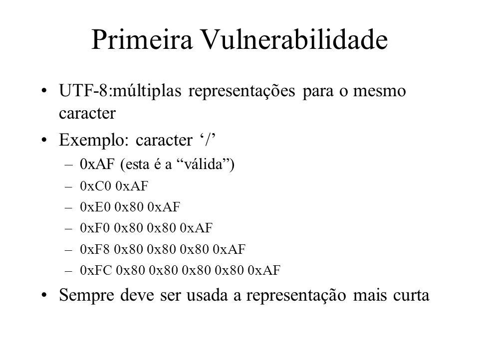 Primeira Vulnerabilidade UTF-8:múltiplas representações para o mesmo caracter Exemplo: caracter / –0xAF (esta é a válida) –0xC0 0xAF –0xE0 0x80 0xAF –
