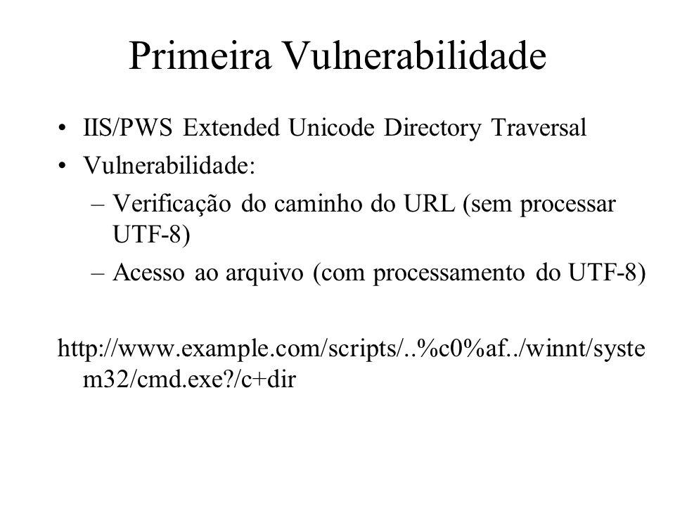 Segunda Vulnerabilidade IIS/PWS Escaped Character Decoding Correção da primeira vulnerabilidade: –Tratamento do UTF-8 –Verificação do caminho do URL (sem tratar UTF) –Acesso ao arquivo (com processamento do UTF-8) Nova vulnerabilidade: –Dupla codificação Descoberta em Maio de 2001 Reparado pela Microsoft no Security Bulletin MS01- 026