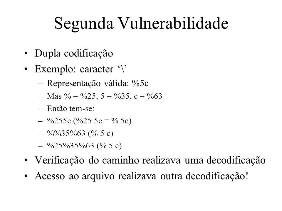 Segunda Vulnerabilidade Dupla codificação Exemplo: caracter \ –Representação válida: %5c –Mas % = %25, 5 = %35, c = %63 –Então tem-se: –%255c (%25 5c
