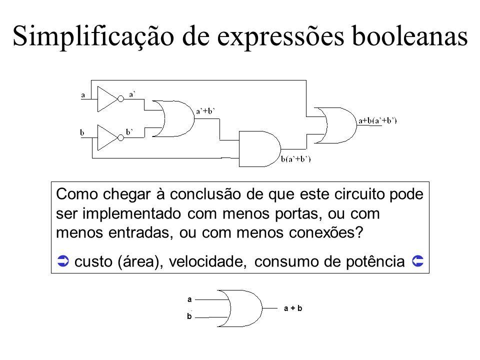 Simplificação de expressões booleanas Como chegar à conclusão de que este circuito pode ser implementado com menos portas, ou com menos entradas, ou c