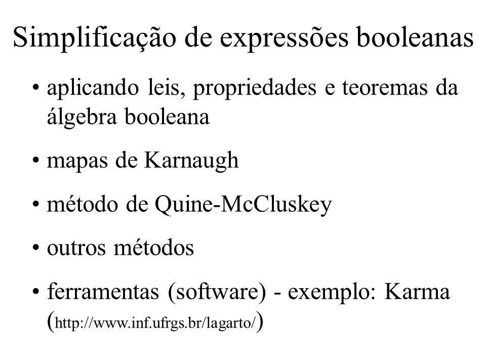 Simplificação de expressões booleanas aplicando leis, propriedades e teoremas da álgebra booleana mapas de Karnaugh método de Quine-McCluskey outros m