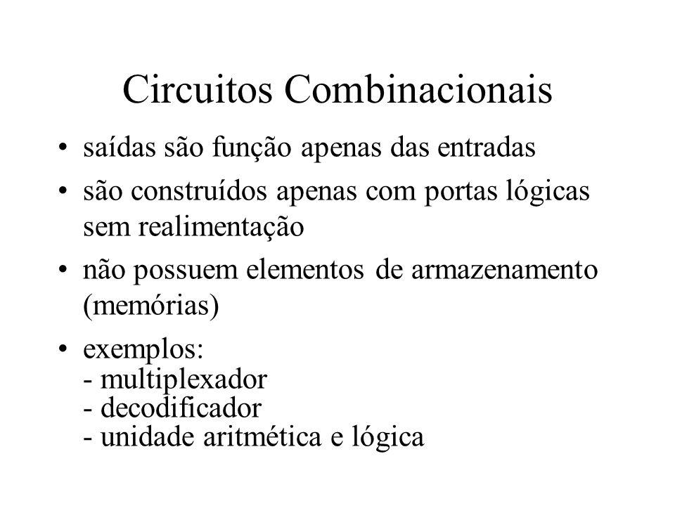 Circuitos Combinacionais saídas são função apenas das entradas são construídos apenas com portas lógicas sem realimentação não possuem elementos de ar