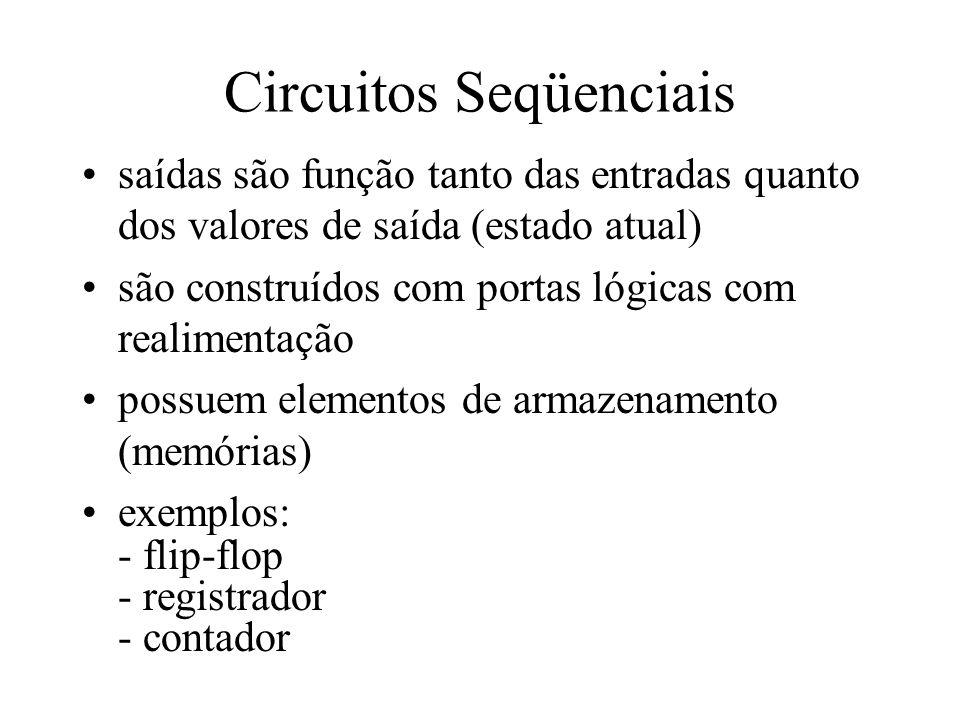 Circuitos Seqüenciais saídas são função tanto das entradas quanto dos valores de saída (estado atual) são construídos com portas lógicas com realiment