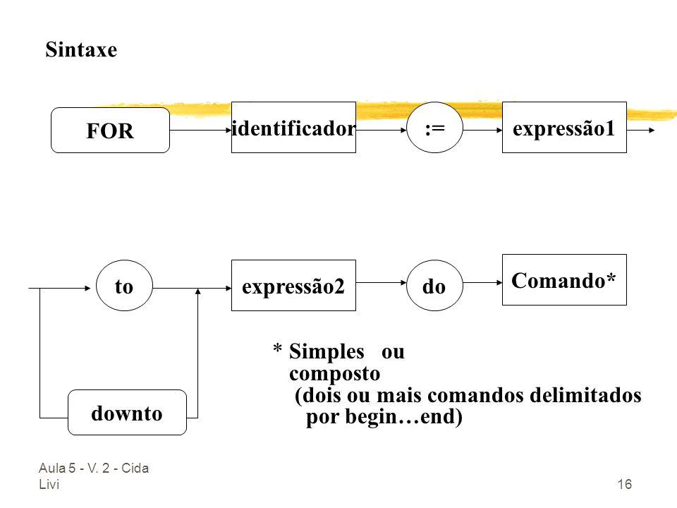 Aula 5 - V. 2 - Cida Livi16 FOR identificadorexpressão1 expressão2 Comando* := doto downto Sintaxe * Simples ou composto (dois ou mais comandos delimi