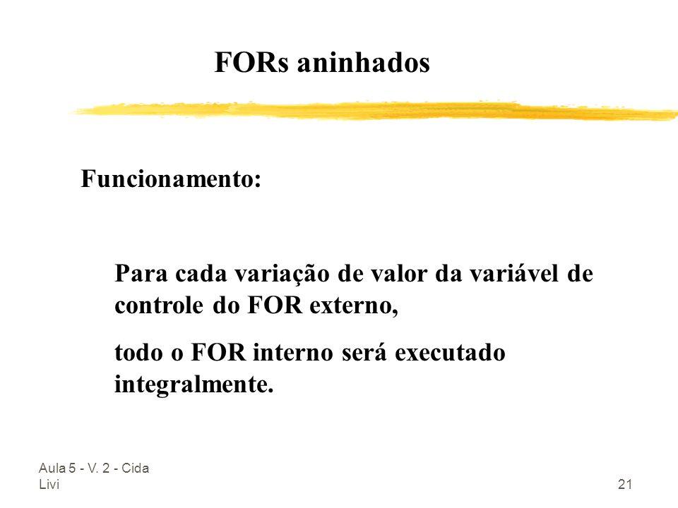 Aula 5 - V. 2 - Cida Livi21 Funcionamento: Para cada variação de valor da variável de controle do FOR externo, todo o FOR interno será executado integ