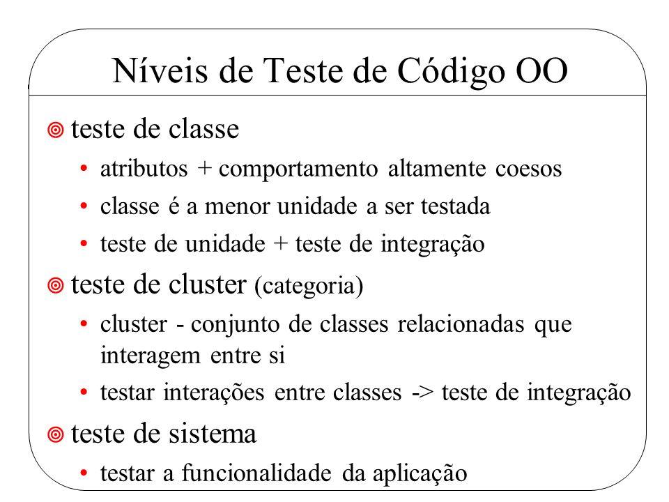 Níveis de Teste de Código OO ¥ teste de classe atributos + comportamento altamente coesos classe é a menor unidade a ser testada teste de unidade + teste de integração ¥ teste de cluster (categoria) cluster - conjunto de classes relacionadas que interagem entre si testar interações entre classes -> teste de integração ¥ teste de sistema testar a funcionalidade da aplicação