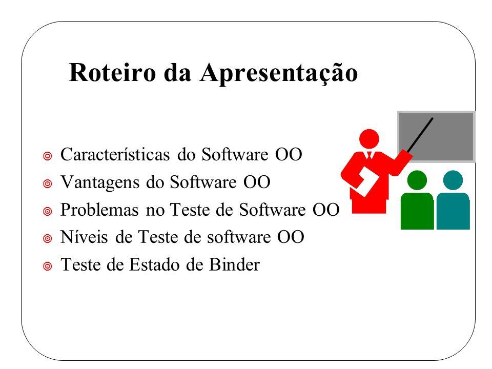 Roteiro da Apresentação ¥ Características do Software OO ¥ Vantagens do Software OO ¥ Problemas no Teste de Software OO ¥ Níveis de Teste de software OO ¥ Teste de Estado de Binder