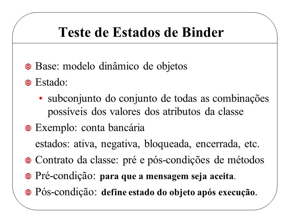 Teste de Estados de Binder ¥ Base: modelo dinâmico de objetos ¥ Estado: subconjunto do conjunto de todas as combinações possíveis dos valores dos atributos da classe ¥ Exemplo: conta bancária estados: ativa, negativa, bloqueada, encerrada, etc.
