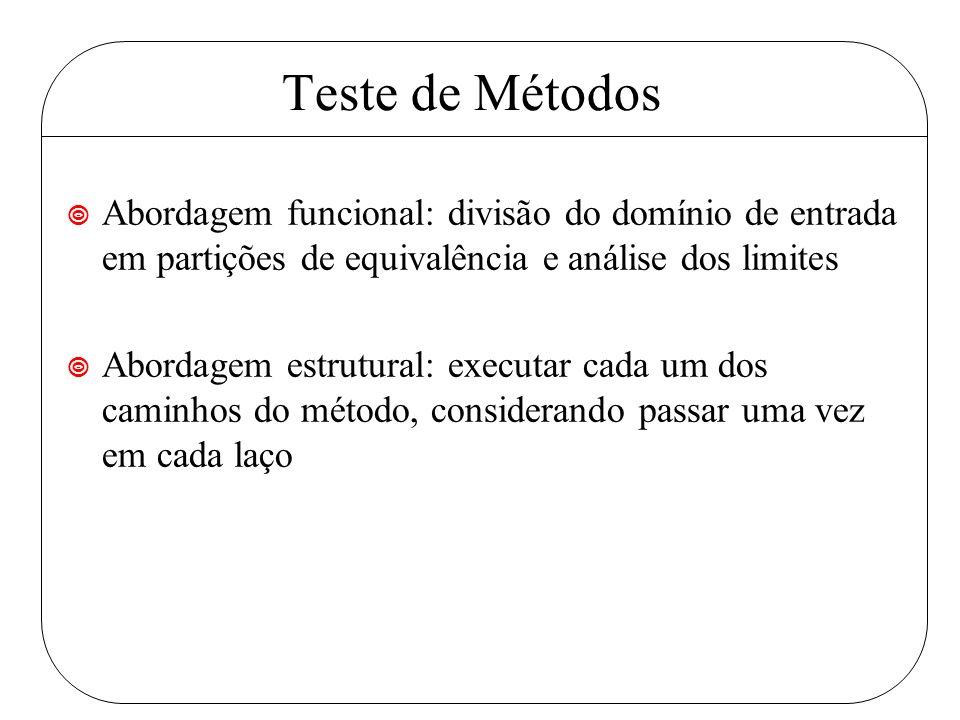 Teste de Métodos ¥ Abordagem funcional: divisão do domínio de entrada em partições de equivalência e análise dos limites ¥ Abordagem estrutural: executar cada um dos caminhos do método, considerando passar uma vez em cada laço