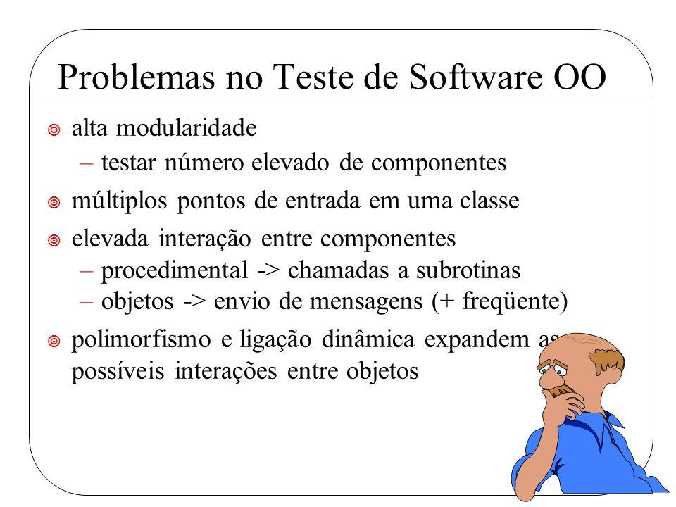 Problemas no Teste de Software OO ¥ alta modularidade –testar número elevado de componentes ¥ múltiplos pontos de entrada em uma classe ¥ elevada inte