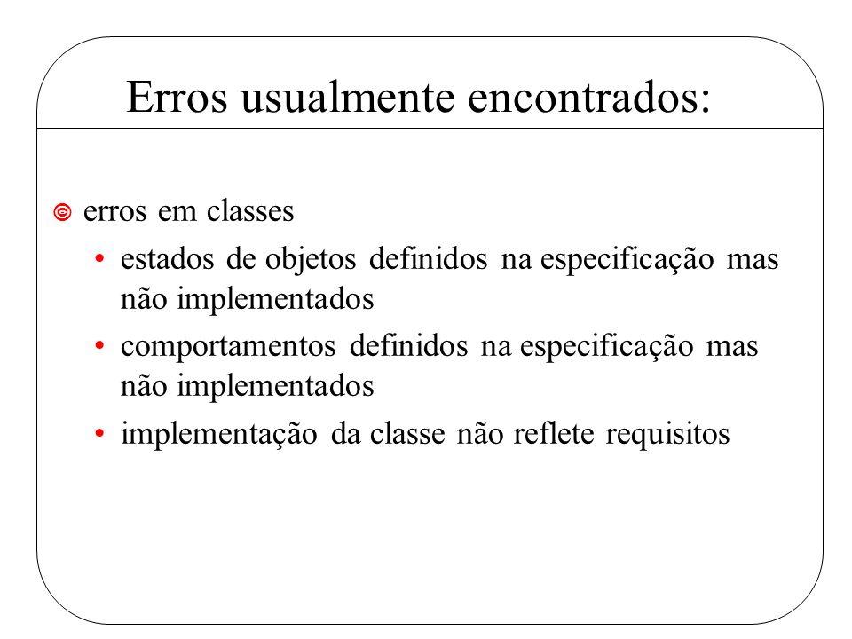 Erros usualmente encontrados: ¥ erros em classes estados de objetos definidos na especificação mas não implementados comportamentos definidos na especificação mas não implementados implementação da classe não reflete requisitos