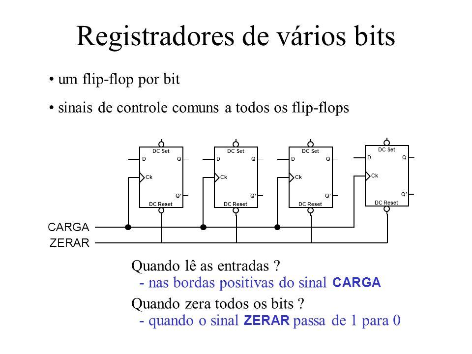 - nas bordas positivas do sinal CARGA - quando o sinal ZERAR passa de 1 para 0 Registradores de vários bits um flip-flop por bit sinais de controle co