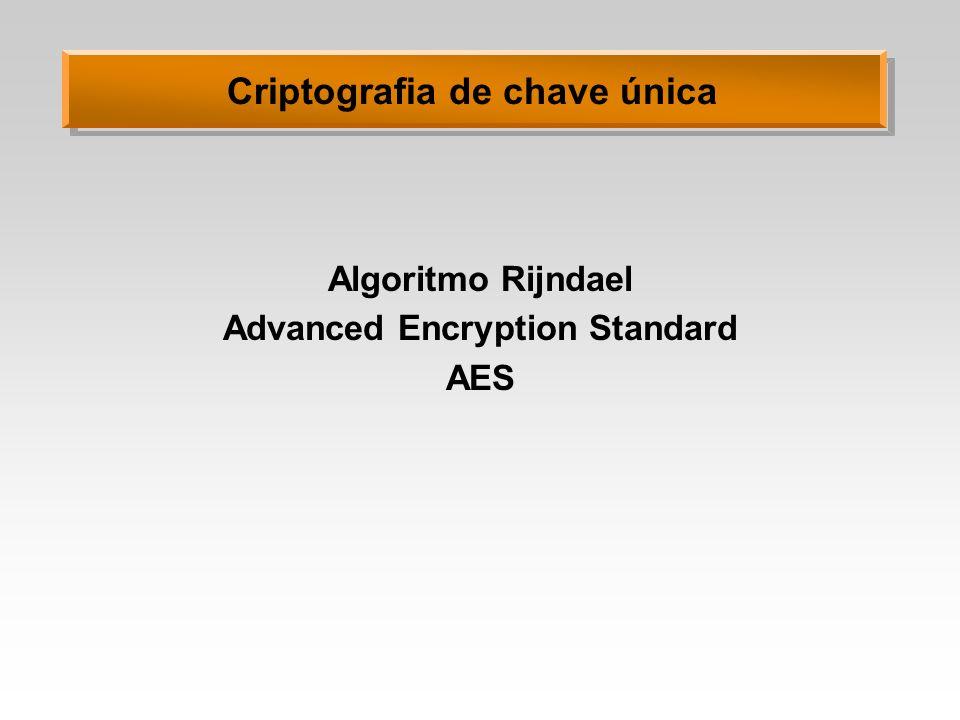 Criptografia de chave única Algoritmo Rijndael Advanced Encryption Standard AES