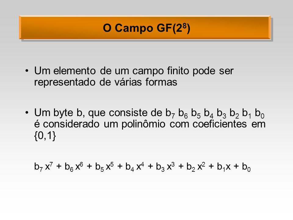 O Campo GF(2 8 ) Exemplo: o byte hexadecimal 0x57 (01010111) corresponde ao polinômio 0X 7 + 1X 6 + 0X 5 + 1X 4 + 0X 3 + 1X 2 + 1X 1 + 1X 0 X 6 + X 4 + X 2 + X + 1