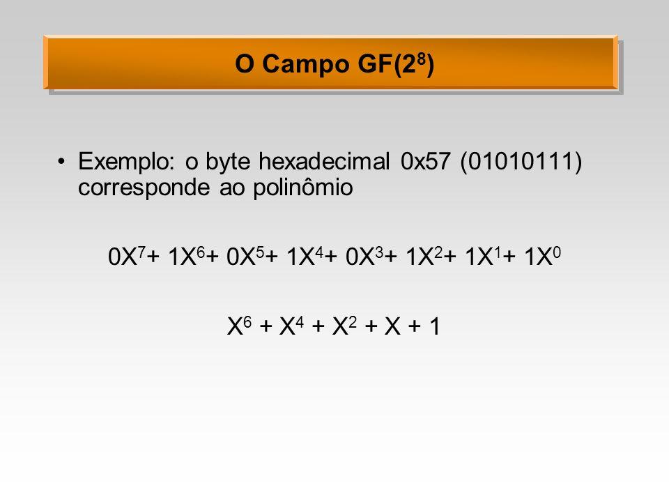 O Campo GF(2 8 ) Adição: a soma de dois elementos é obtida da soma dos coeficientes em módulo 2 (1+1=0) Exemplo: 57 + 83 = D4 (x 6 + x 4 + x 2 + x+ 1) + (x 7 + x+ 1) = x 7 + x 6 + x 4 + x 2 01010111 + 10000011 = 11010100 Adição corresponde a um XOR