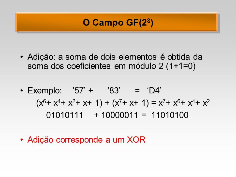 O Campo GF(2 8 ) Adição: a soma de dois elementos é obtida da soma dos coeficientes em módulo 2 (1+1=0) Exemplo: 57 + 83 = D4 (x 6 + x 4 + x 2 + x+ 1)