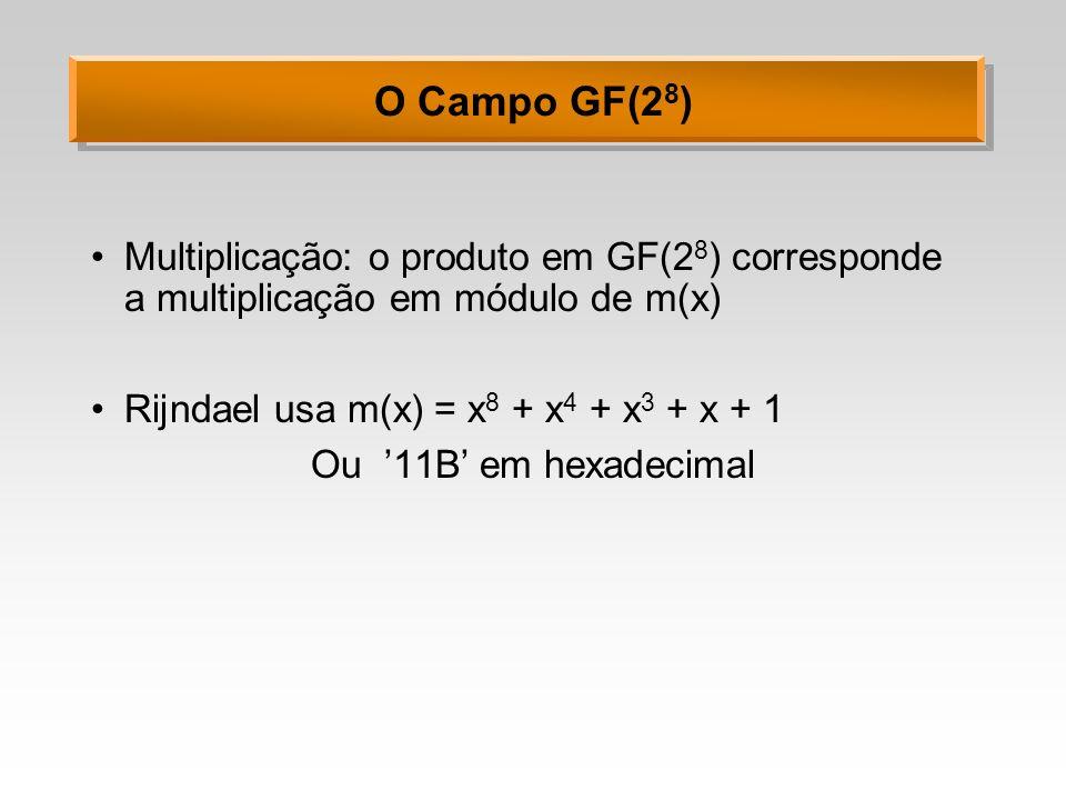 O Campo GF(2 8 ) Exemplo: 57 83 = C1 (x 6 + x 4 + x 2 + x+ 1)(x 7 + x+ 1) = = x 13 + x 11 + x 9 + x 8 + x 7 + x 7 + x 5 + x 3 + x 2 + x+ x 6 + x 4 + x 2 + x+ 1 = x 13 + x 11 + x 9 + x 8 + x 6 + x 5 + x 4 + x 3 + 1 em módulo: = x 13 + x 11 + x 9 + x 8 + x 6 + x 5 + x 4 + x 3 + 1 modulo x 8 + x 4 + x 3 + x+ 1 = x 7 + x 6 + 1 O resultado sempre será um polinômio de grau inferior a 8