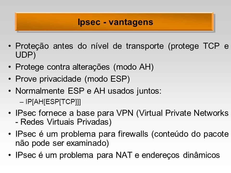 Ipsec - vantagens Proteção antes do nível de transporte (protege TCP e UDP) Protege contra alterações (modo AH) Prove privacidade (modo ESP) Normalmen