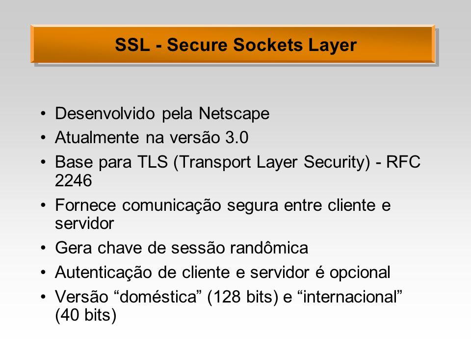 SSL - Secure Sockets Layer Desenvolvido pela Netscape Atualmente na versão 3.0 Base para TLS (Transport Layer Security) - RFC 2246 Fornece comunicação