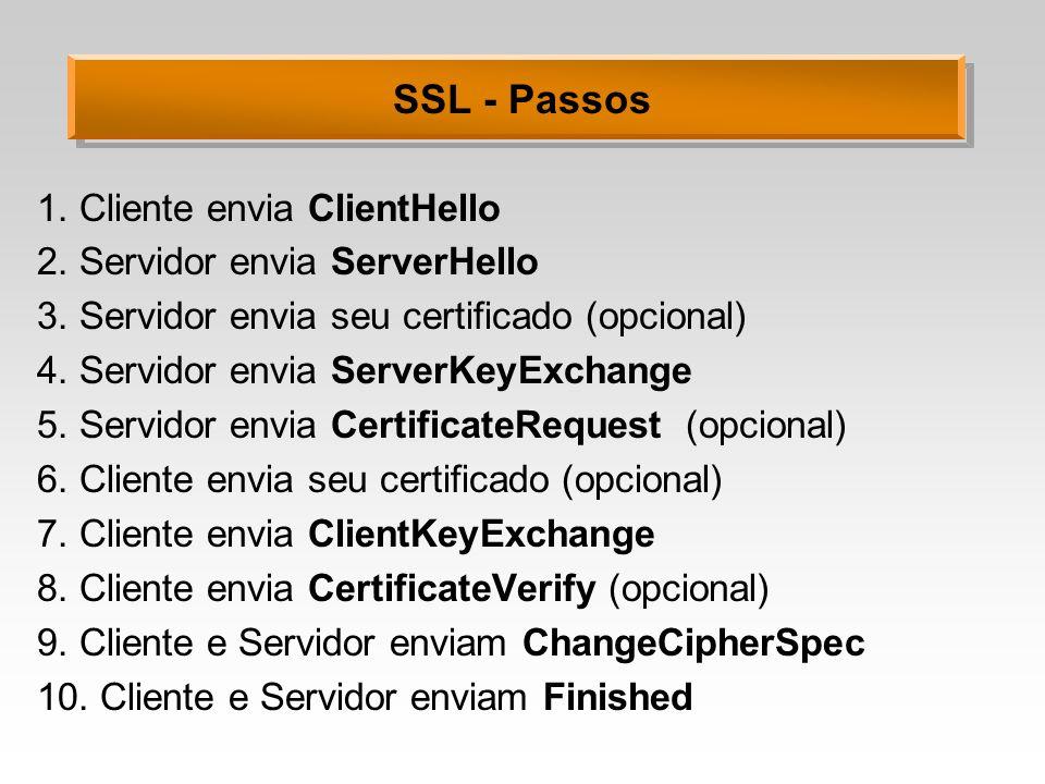 SSL - Passos 1. Cliente envia ClientHello 2. Servidor envia ServerHello 3. Servidor envia seu certificado (opcional) 4. Servidor envia ServerKeyExchan