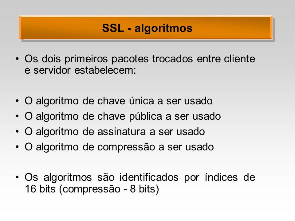 SSL - algoritmos Os dois primeiros pacotes trocados entre cliente e servidor estabelecem: O algoritmo de chave única a ser usado O algoritmo de chave