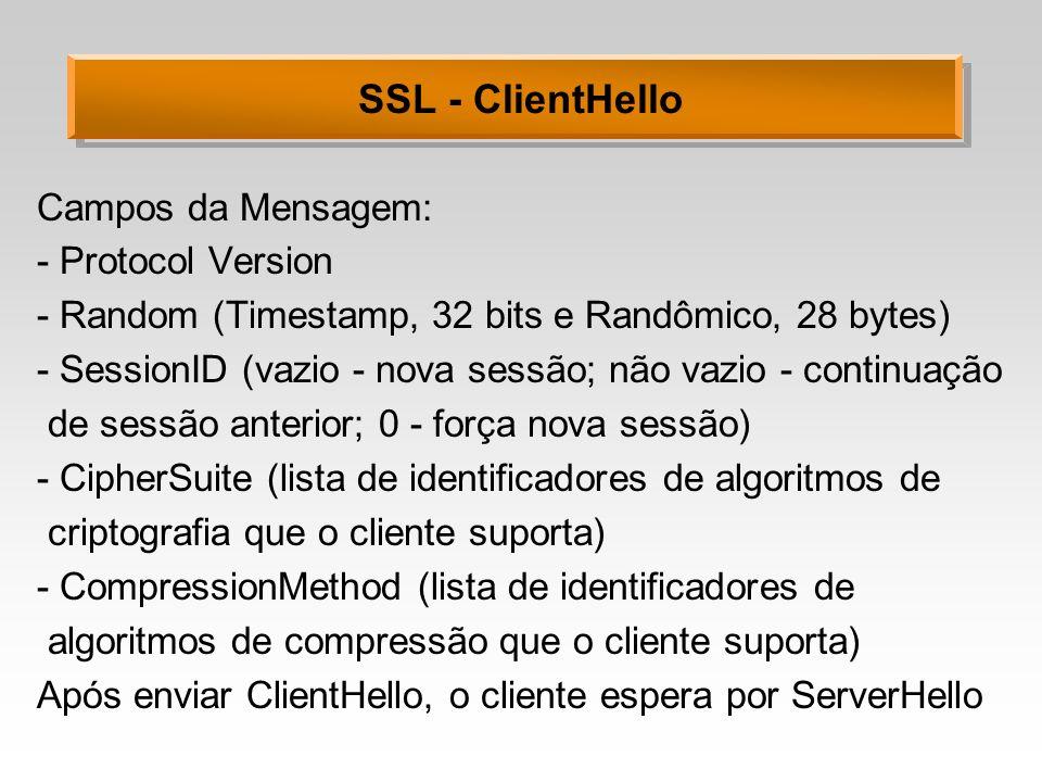 SSL - ClientHello Campos da Mensagem: - Protocol Version - Random (Timestamp, 32 bits e Randômico, 28 bytes) - SessionID (vazio - nova sessão; não vaz