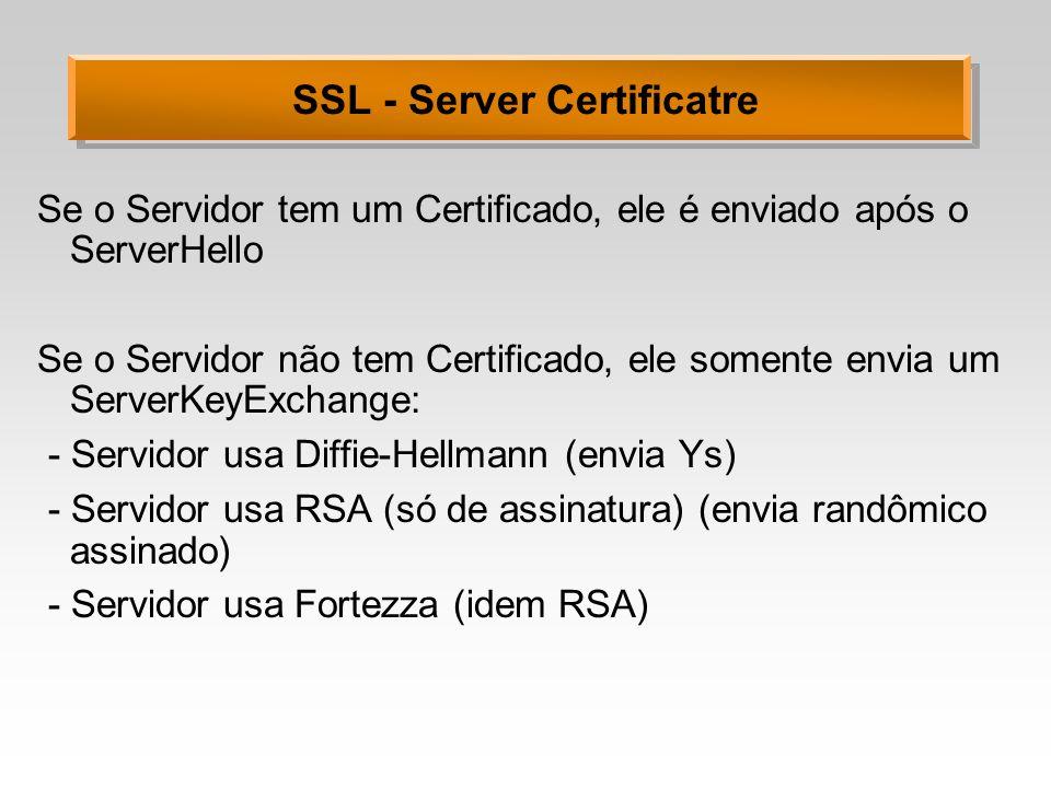 SSL - Server Certificatre Se o Servidor tem um Certificado, ele é enviado após o ServerHello Se o Servidor não tem Certificado, ele somente envia um S