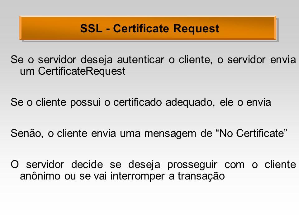 SSL - Certificate Request Se o servidor deseja autenticar o cliente, o servidor envia um CertificateRequest Se o cliente possui o certificado adequado