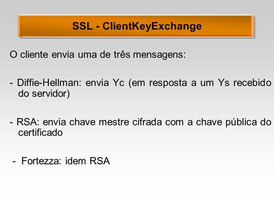 SSL - ClientKeyExchange O cliente envia uma de três mensagens: - Diffie-Hellman: envia Yc (em resposta a um Ys recebido do servidor) - RSA: envia chav