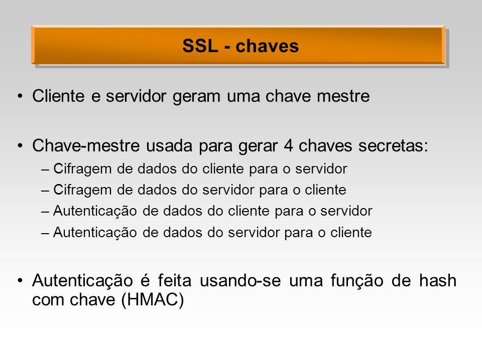 SSL - chaves Cliente e servidor geram uma chave mestre Chave-mestre usada para gerar 4 chaves secretas: –Cifragem de dados do cliente para o servidor