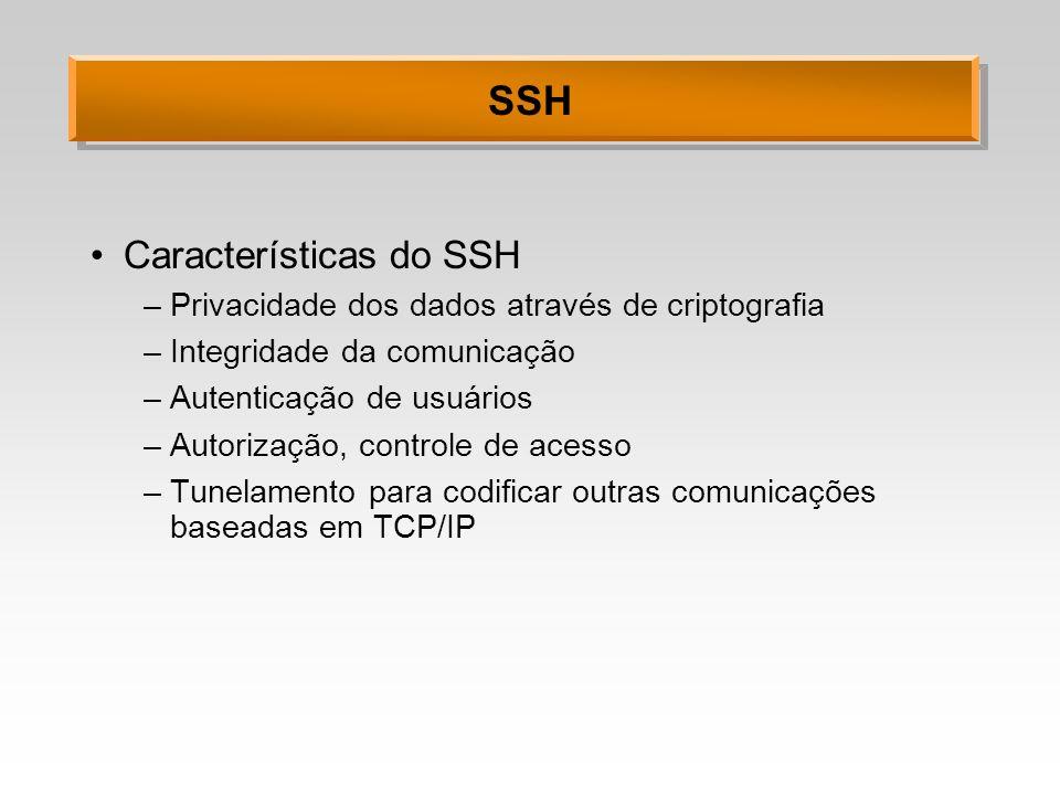 SSH Características do SSH –Privacidade dos dados através de criptografia –Integridade da comunicação –Autenticação de usuários –Autorização, controle